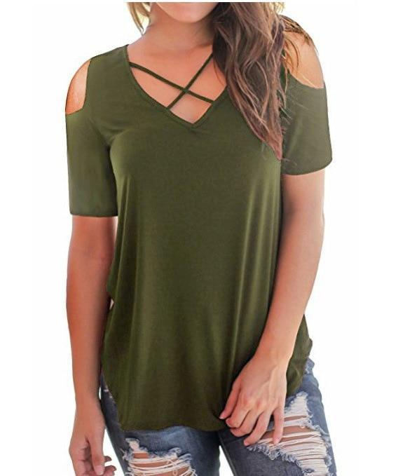 Women Sexy Off Shoulder Cross V-Neck T-shirt Casual Loose Basic Shirt Short Sleeve Tops