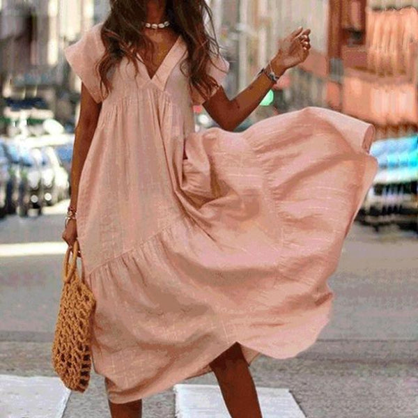 3XL Women Sexy V-neck Irregular Dress Short Sleeve Solid Loose Casual Ladies Dress