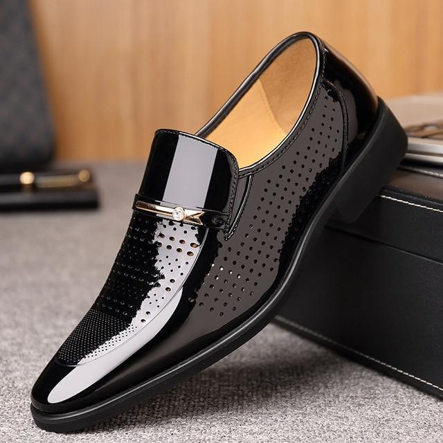 Leather Formal Flats Breathable Gentlemen Oxford Lace Up Business Wedding Shoes