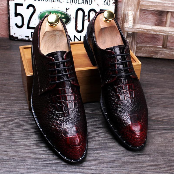 Men Dress Shoes Crocodile Leather Luxury Fashion Lace Up Oxfords Shoes
