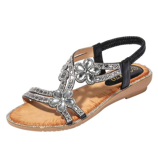 Women Bohemia Style Flats Sandals聽Bling Flower Crystal Beach Sandals Shoes