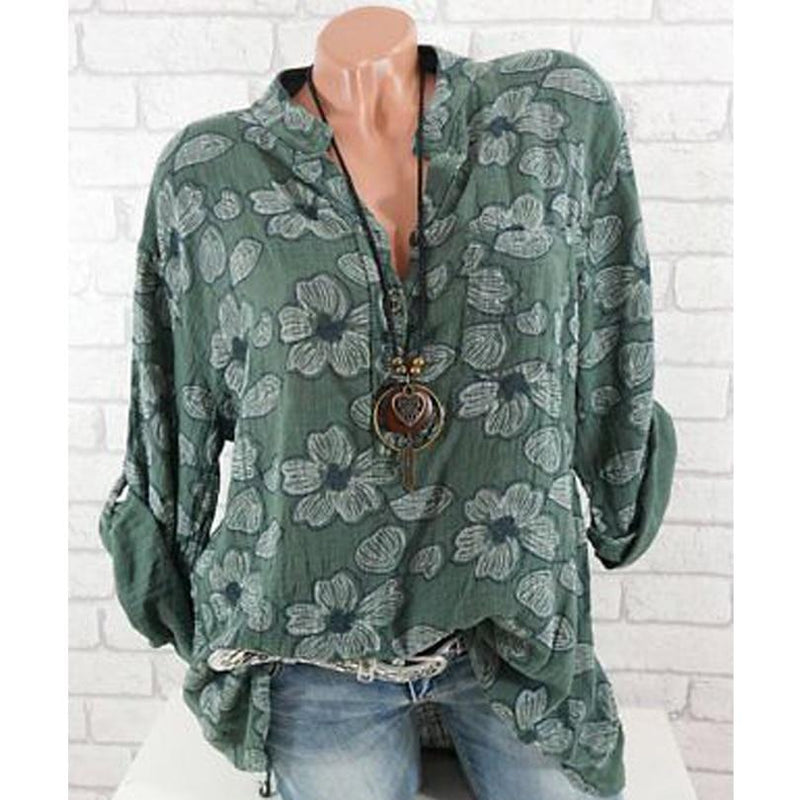Women Floral Print Long Sleeve V Neck Blouse Chiffon Casual Tops Plus Size