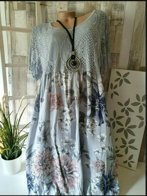 Women's Large Size Dresses Summer New Printed Lace Dresses Hollow Short-sleeved Dresses