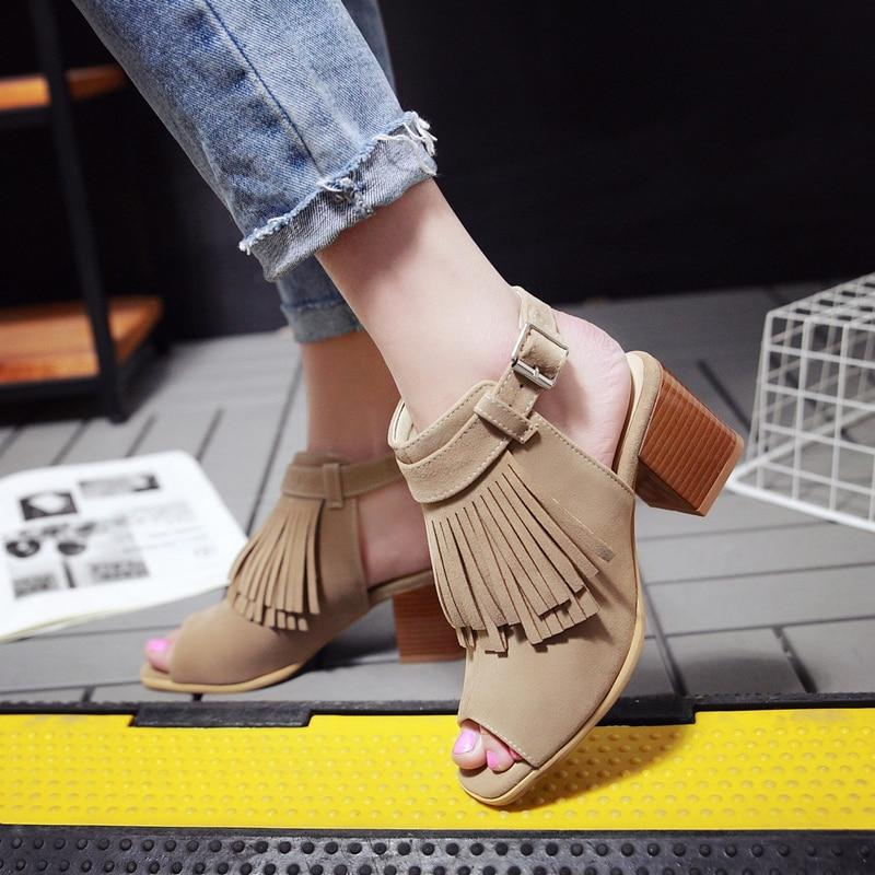 Women Retro Summer Sandals Leisure Tassel Thick Heels Gladiator Peep Toe Sandals