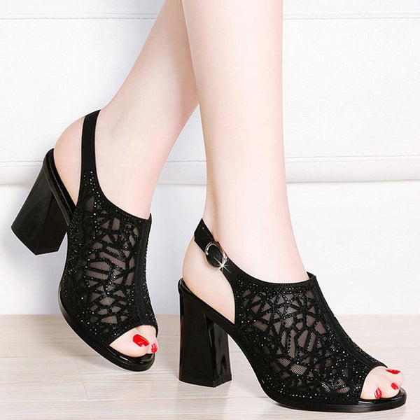 Women Peep Toe High Heels Mesh Hollow Out Pumps Sandals Crystal Back Strap Party Shoes
