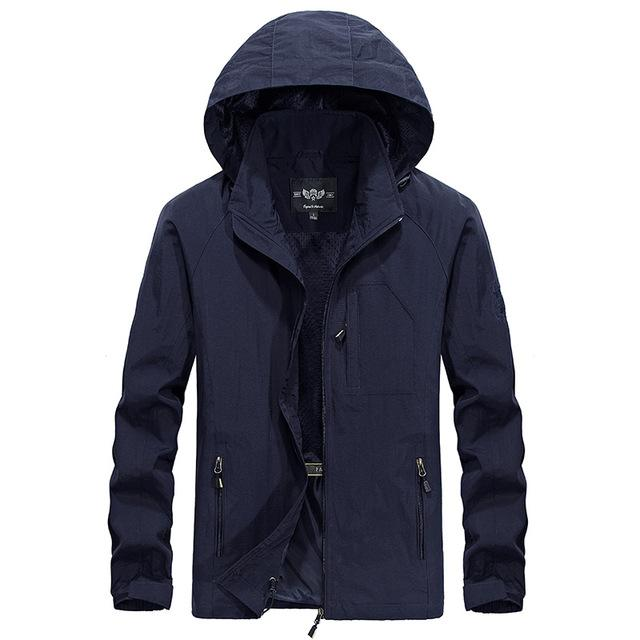 Men Plus Size Waterproof Hooded Jacket Thin Casual Sporting Coat Motorcycle Fashion Outerwear Windbreaker