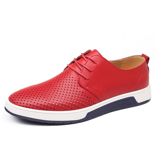 Men Casual Shoes Leather Breathable Holes Flat Shoes for Men