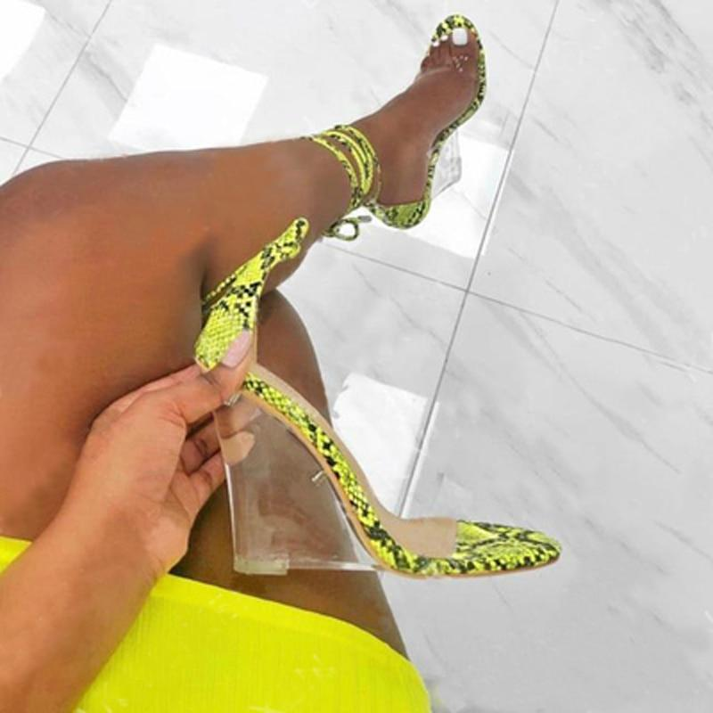 Women Pumps Sexy Transparent PVC Snake Print High Heels Wedges Sandals