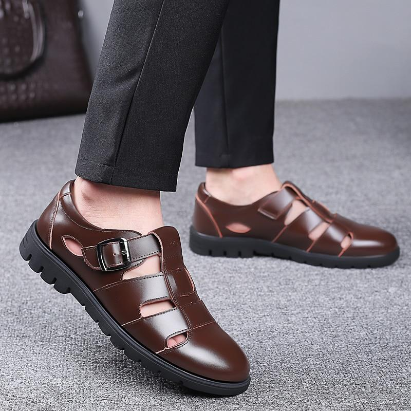 Men's Genuine Leather Sandals Plus Size Oxford Sanda Shoes