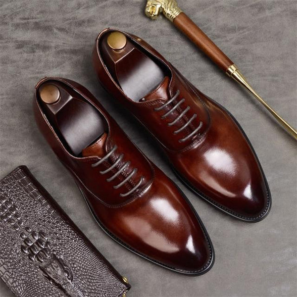 Men formal shoes genuine leather italian designer dress shoes