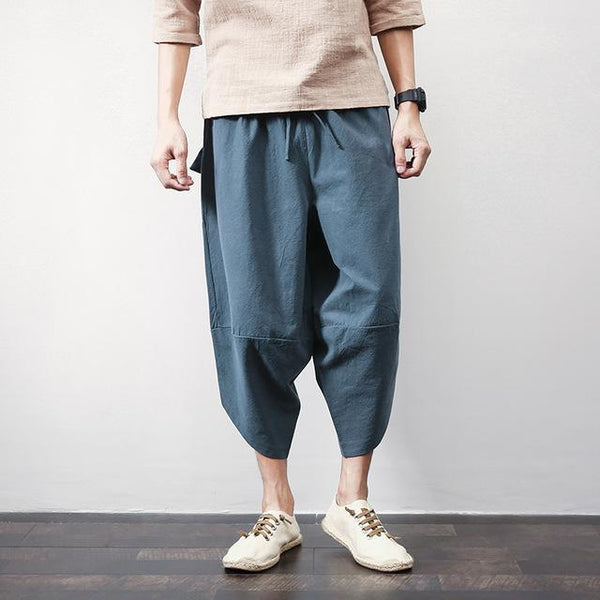 Mens Cotton Linen Harem Pants Summer Casual Calf-Length Solid Big Pocket Baggy Trousers