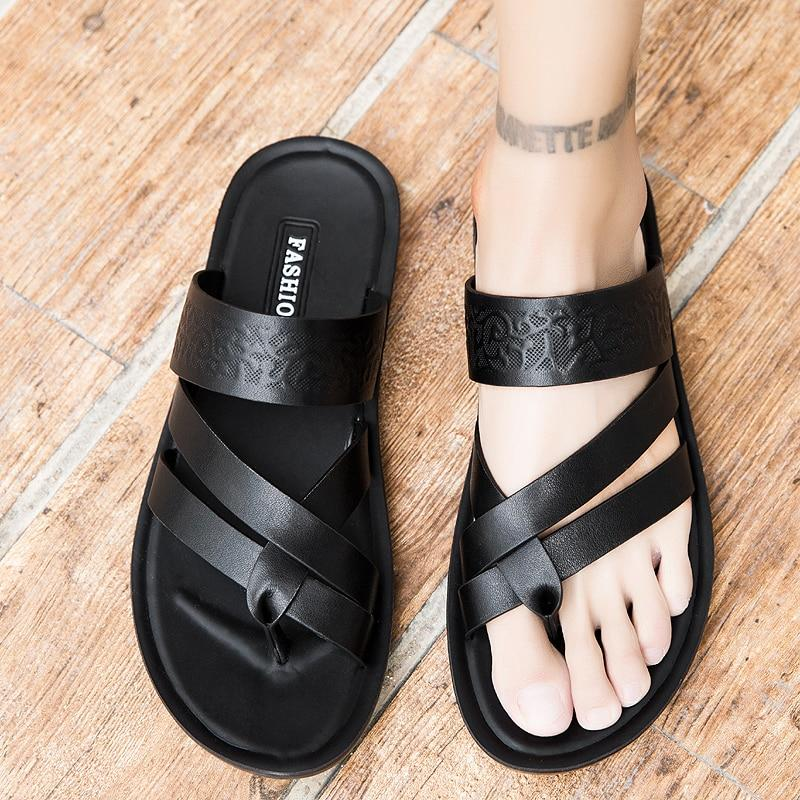 Men's Genuine Leather Sandals Beach Flip Flops Slip-on Sandal Shoes