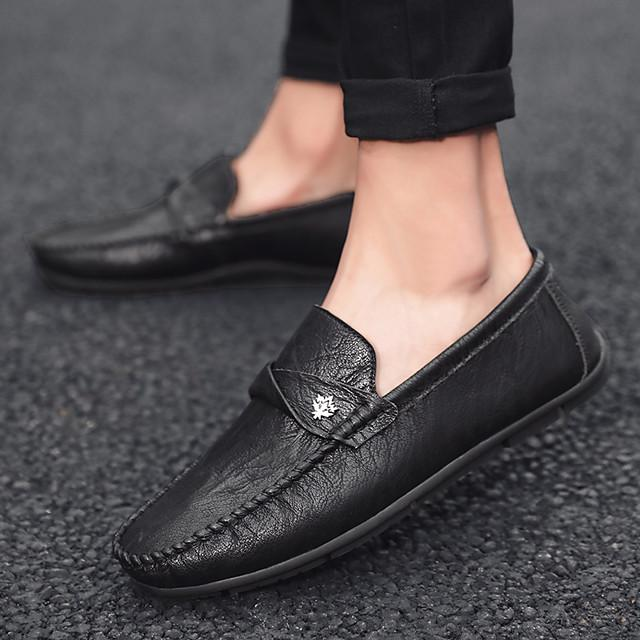 Men's Summer / Winter Casual / British Daily Outdoor Loafers & Slip-Ons Walking Shoes Leather / Nappa Leather Breathable Non-slipping Wear Proof Dark Brown / Black / Gray
