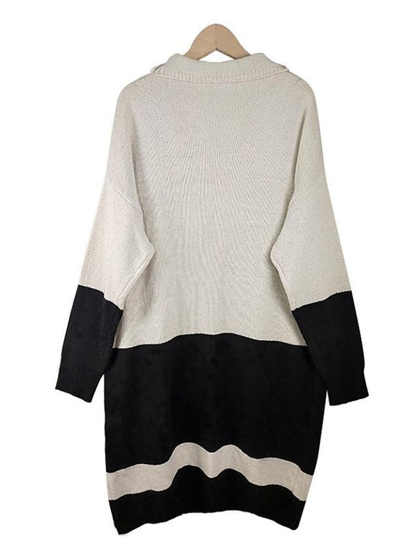 Women's Basic Knitted Color Block Cardigan Long Sleeve Sweater Cardigans Shirt Collar Fall Winter White