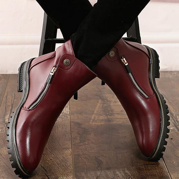 Men's PU Spring & Summer Classic Boots Wear Proof Booties / Ankle Boots Black / Light Red
