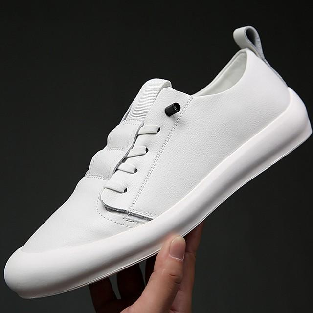 Men's Summer / Fall Daily Trainers / Athletic Shoes Leather White / Black