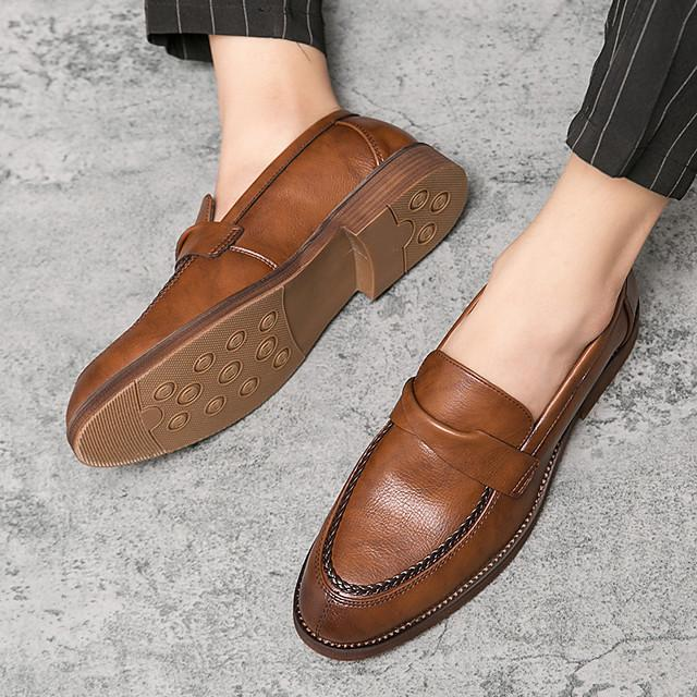 Men's Fall / Winter Business / Casual Daily Loafers & Slip-Ons PU Wear Proof Black / Brown