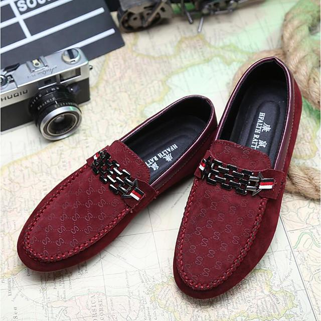 Men's Comfort Shoes Light Soles Spring / Fall Casual Outdoor Loafers & Slip-Ons Walking Shoes PU Black / Red / Blue / Rivet / EU40