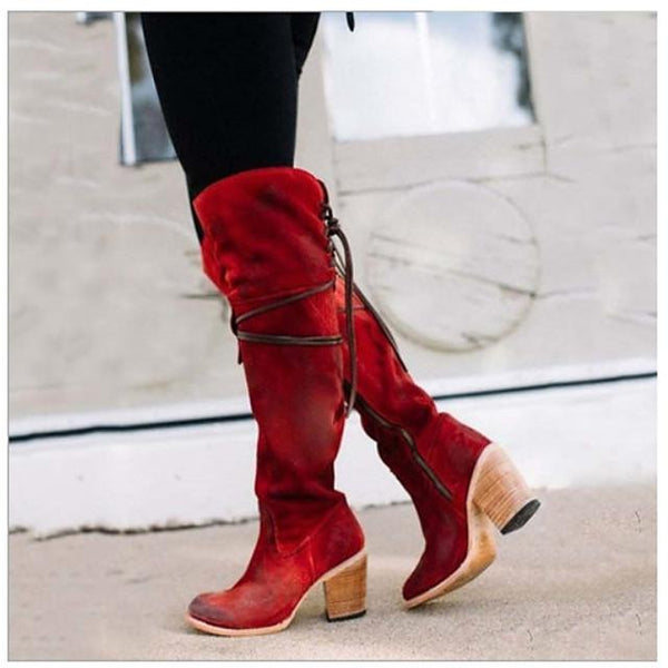 Women's Boots Cuban Heel Round Toe Casual Basic Daily Solid Colored Suede Over The Knee Boots Walking Shoes Black / Red / Black / Yellow