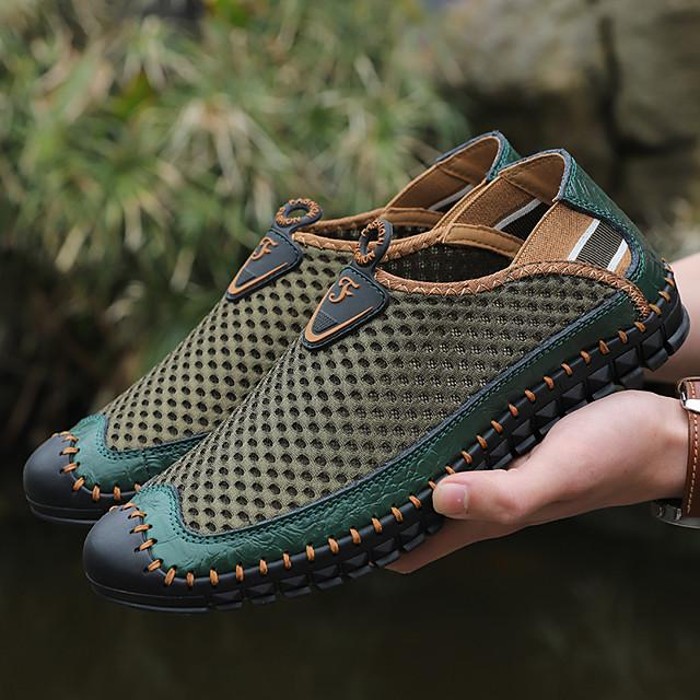 Men's Mesh / Cowhide Spring / Fall & Winter Casual / Preppy Loafers & Slip-Ons Walking Shoes Breathable Slogan Green / Blue / White