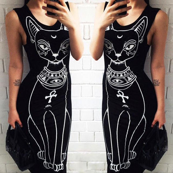 Corachic.com - Women Long Maxi Dress Casual Cat Print Boho Beach Dress