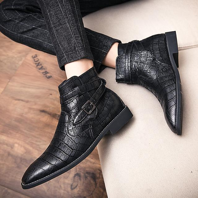 Men's Fall / Winter Business / Classic / Casual Daily Office & Career Boots Leather Breathable Non-slipping Height-increasing Black