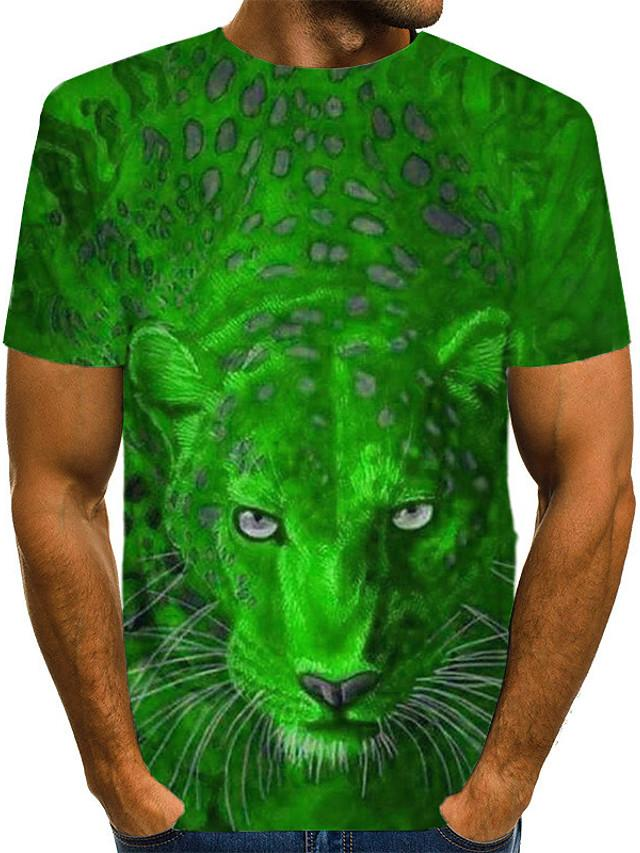 Men's 3D Graphic Print T-shirt Street chic Daily Wear Club Round Neck Purple / Red / Yellow / Green / Blue / Royal Blue / Gray / Short Sleeve / Animal