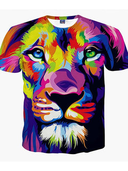 Men's Plus Size 3D Graphic Lion Print T-shirt Daily Weekend Round Neck Purple / Summer / Short Sleeve / Animal