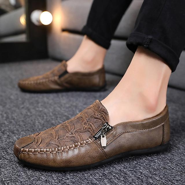 Men's Spring & Summer / Fall & Winter Classic / British Daily Outdoor Loafers & Slip-Ons Walking Shoes Leather Breathable Wear Proof Dark Brown / Black / Gray