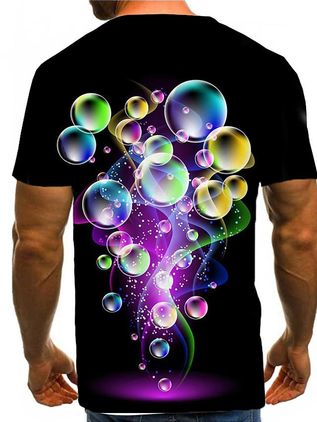 Men's 3D Graphic Print T-shirt Street chic Exaggerated Daily Wear Club Round Neck Black / Short Sleeve