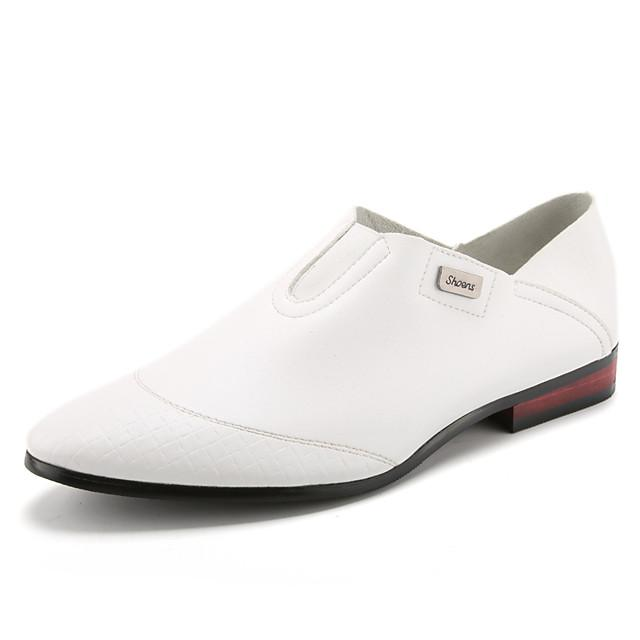Men's Spring / Summer Business / Classic / Casual Daily Office & Career Loafers & Slip-Ons Faux Leather Breathable Non-slipping Height-increasing White / Black / Red