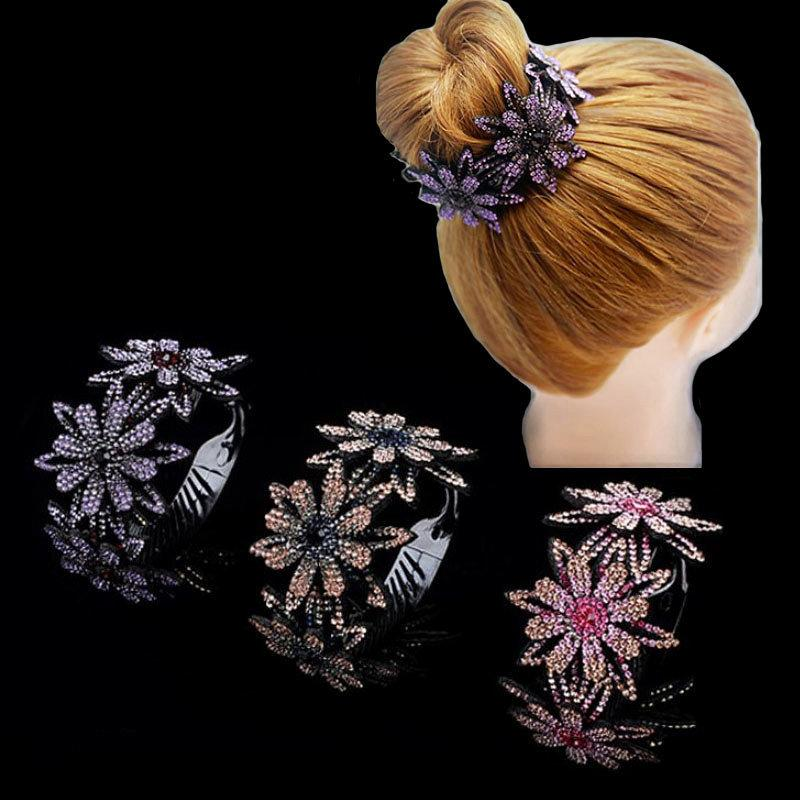Rhinestone Hair Bun Claws Holders