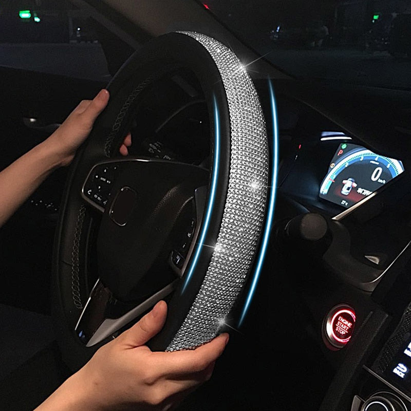 Crystal Luxurious Leather Steering Wheel Cover