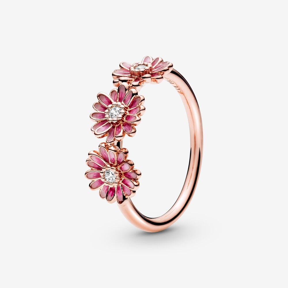 Anello Con Tre Margherite Rosa - Q Shops