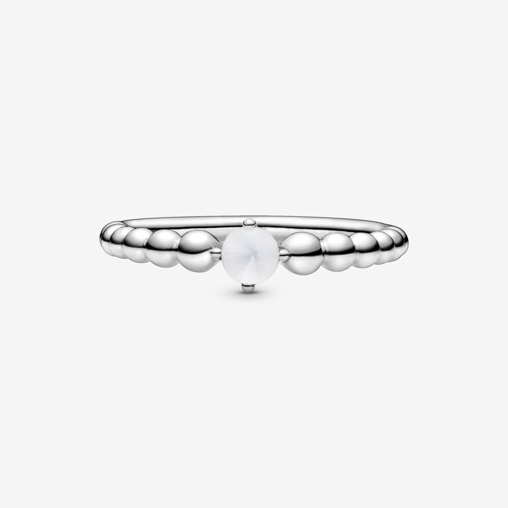 Anello Bianco Latte Decorato Con Sfere - Q Shops