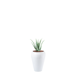 Round tapered Fiberglass Dahla Pot planted with faux Aloe 70cm