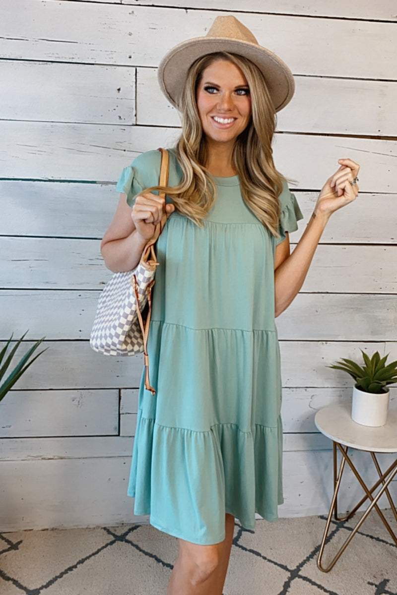 Hello Lovely Tiered Baby Doll Dress : Sage