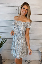 Open Your Heart Off Shoulder Smocked Dress : White Mix