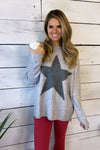 Star Crossed Long Sleeve Knit Sweater : Grey