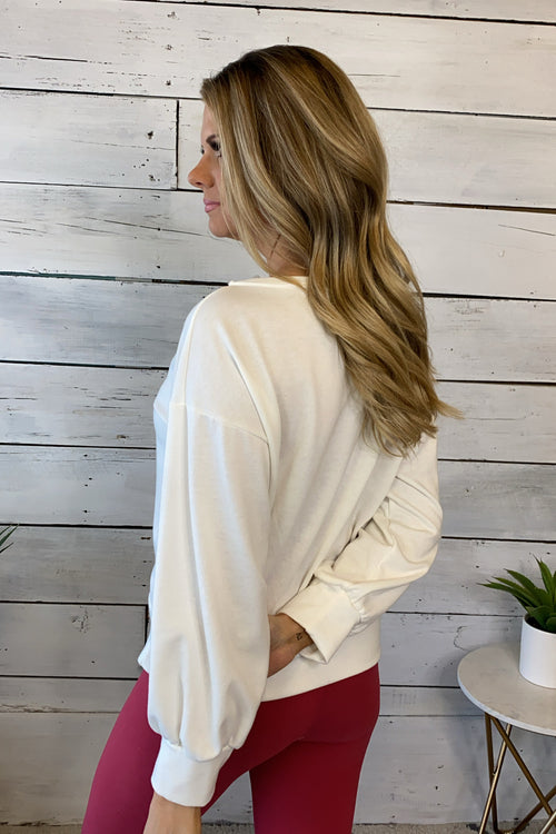 Love Wide Neck Graphic Long Sleeve Pullover : White