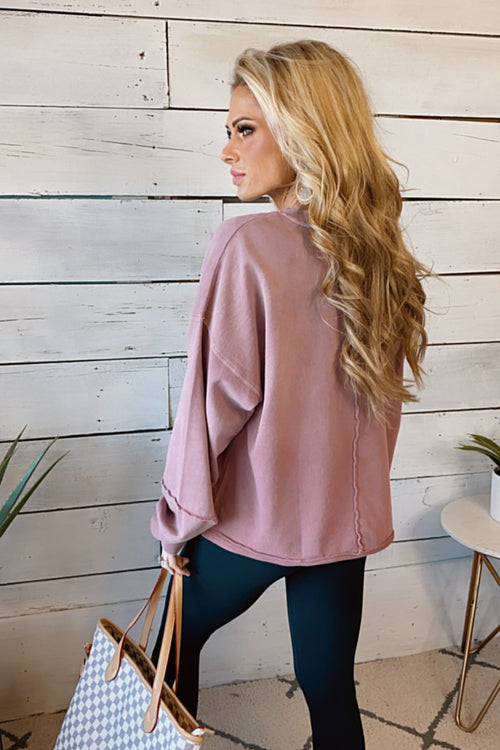 Looking At You Long Sleeve Pullover : Faded Plum