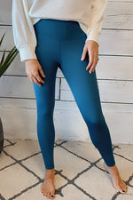 Hazel Full Length Compression Leggings : Slate Blue