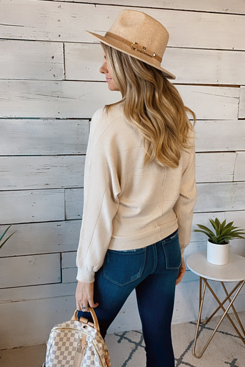 Live Your Life Mixed Texture Dolman Sweater : Cream
