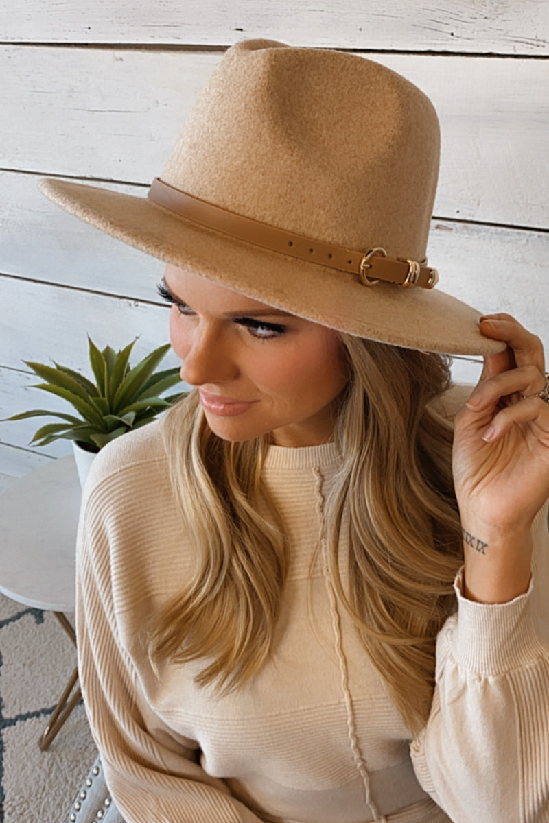 Early Riser Wool Hat With Leather Belt : Tan