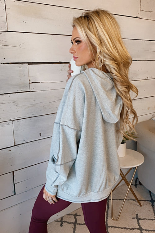 Found My Heart Long Sleeve Draw String Hoodie : Grey