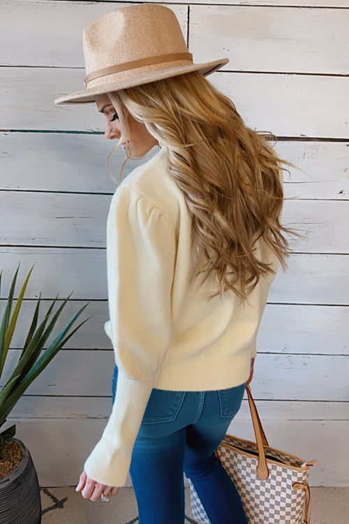 With You Again Round Neck Sweater : Ivory