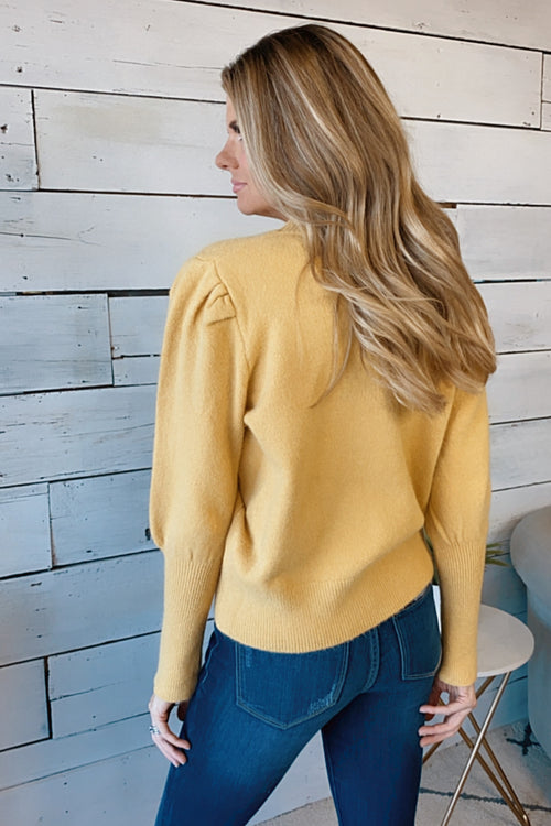 With You Again Round Neck Sweater : Mustard