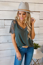 Pull Me In Lace Trim V-Neck Top : Charcoal
