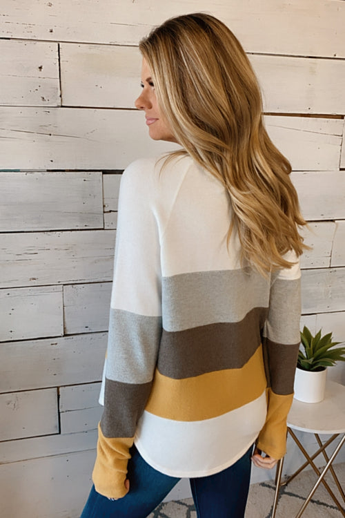 What A Night Color Block Pullover Top : Mocha/Multi