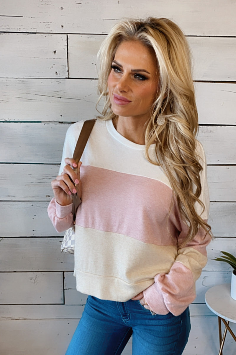 Face The Truth Color Block Pullover : Ivory/Pink/Taupe